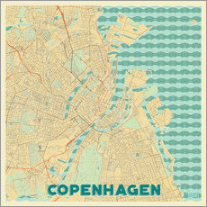 Wall sticker  Copenhagen Map Retro - Hubert Roguski