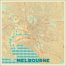 Wall Stickers  Melbourne Map Retro - Hubert Roguski