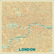 Wall sticker London Map Retro