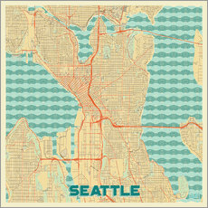 Wall sticker  Seattle Map Retro - Hubert Roguski