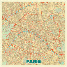 Wall sticker Paris Map Retro