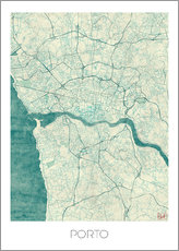 Gallery print  Porto Map Blue - Hubert Roguski