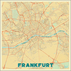 Wall sticker Frankfurt Map Retro
