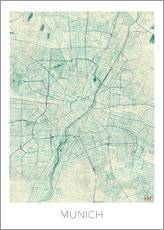 Gallery Print  Munich Map Blue - Hubert Roguski