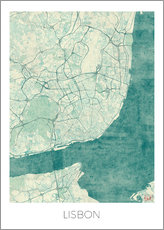 Wall sticker  Lisbon map blue - Hubert Roguski