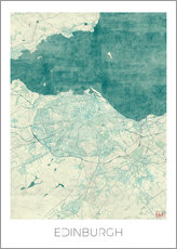 Gallery print  Edinburgh Map Blue - Hubert Roguski