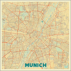 Gallery print  Munich Map Retro - Hubert Roguski
