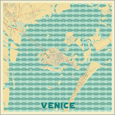 Wall sticker  Venice, Italy Map Retro - Hubert Roguski