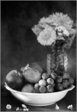 Wall sticker  Still life with apples and grapes noir - K&L Food Style