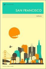 Wall sticker  SAN FRANCISCO TRAVEL POSTER - Jazzberry Blue