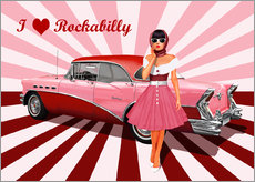 Wall sticker I love Rockabilly