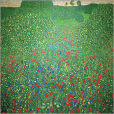 Foam board print  Field of poppies - Gustav Klimt