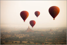 Gallery print  Aerial view of balloons over the ancient temples in Myanmar - Harry Marx