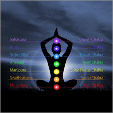 Gallery print  Chakras with silhouette