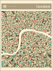 Wall sticker  LONDON MAP - Jazzberry Blue