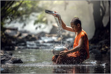 Gallery Print  Monk washing dishes
