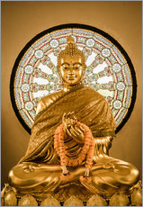 Gallery print  Buddha statue and Wheel of life background