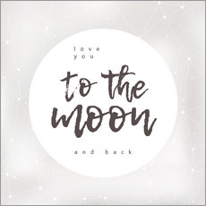 Wall sticker  Love you (to the moon and back) - Typobox