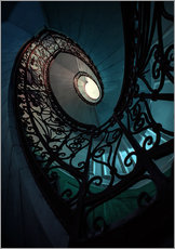 Wall sticker  Spiral staircase in blue and beige colors - Jaroslaw Blaminsky