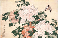 Wall sticker  Peonies and a butterfly - Katsushika Hokusai