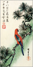 Wall Stickers  Pine and parakeet - Utagawa Hiroshige