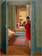 Gallery print  Interior with woman in red - Felix Edouard Vallotton