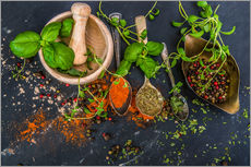 Gallery Print  Mortar with herbs and spice
