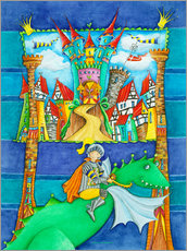 Gallery print  Knights Dragon and the Knight's Castle - Atelier BuntePunkt