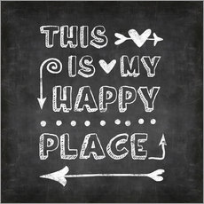 Wall sticker happy place chalk