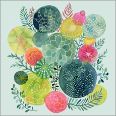 Wall sticker  Cactus circles - Janet Broxon