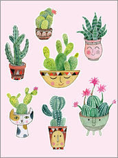 Wall sticker funny succulents