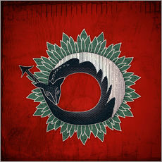 Wall sticker Black dragon, green flame