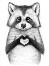 Aluminium print  Raccoon with heart - Nikita Korenkov