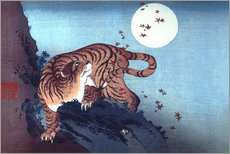 Gallery print  The Tiger and the moon - Katsushika Hokusai