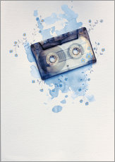 Gallery Print  Music tape with flowers and watercolour wash - Sybille Sterk