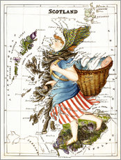 Gallery print  Scotland as a woman carrying a basket of fish - Lilian Lancaster