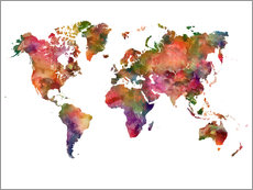 Gallery print  Colourful world map - Dani Wijeyesinghe