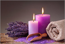 Wall sticker  Spa still life with candles and lavender - Elena Schweitzer