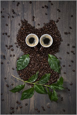 Gallery print  Coffee owl from beans, leaves and cups - Elena Schweitzer