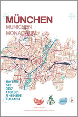 Gallery print  Munich city map - campus graphics