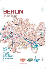 Wall sticker  Berlin city motif map - campus graphics
