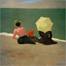 Wood print  At the beach - Felix Edouard Vallotton