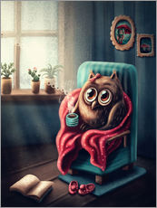 Wall sticker Owl with a cup of coffee