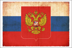 Wall sticker  Old flag of Russia with coat of arms in grunge style - Christian Müringer