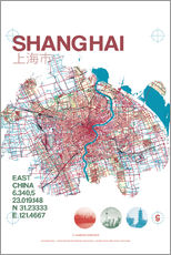 Wall sticker  Shanghai city map - campus graphics
