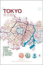 Wall sticker  Tokyo city map - campus graphics