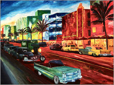 Wall sticker  Miami Ocean Drive with mint Cadillac - M. Bleichner