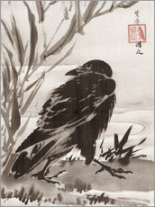 Gallery print  Crow and Reeds by a Stream - Kawanabe Kyosai