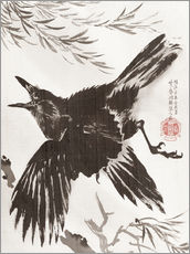 Wall sticker  Crow and Willow Tree - Kawanabe Kyosai