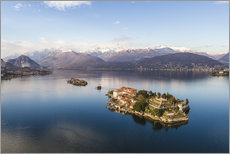 Wall sticker Aerial view of Isola Bella on lake Maggiore at sunset, Italy